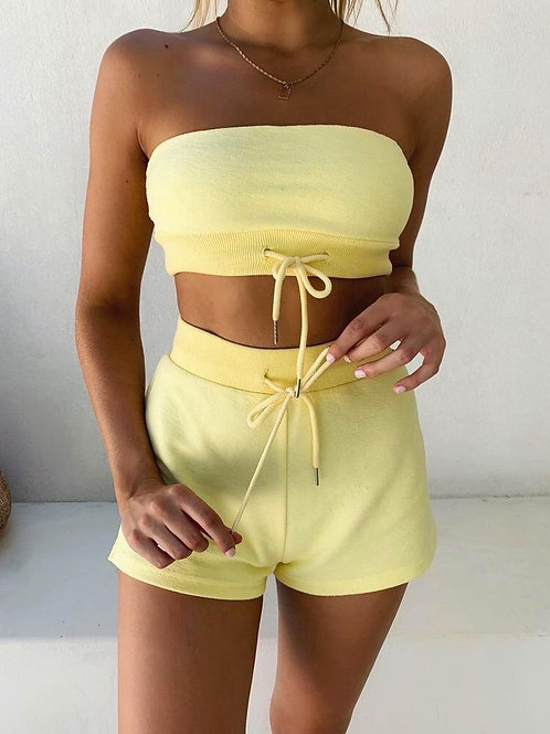 Off Shoulder Two Piece Set Crop Top and Shorts Tracksuit Matching Sets