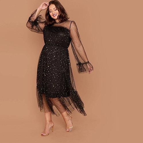 Plus Frill Trim Star Mesh Overlay Dress