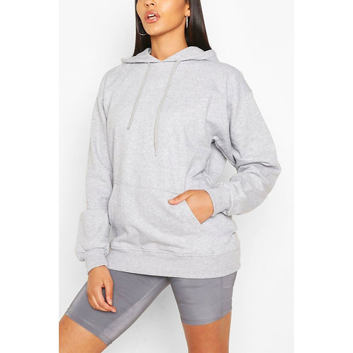 Grey Oversized Pullover Hoodie