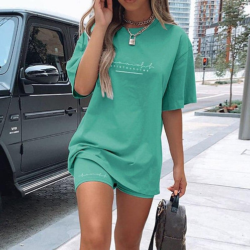 Letter Print Short Sleeve Basic T Shirt Top and Biker Shorts Set