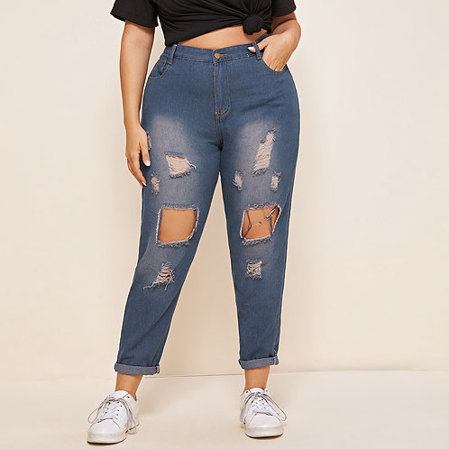 Plus Ripped Button Fly Jeans