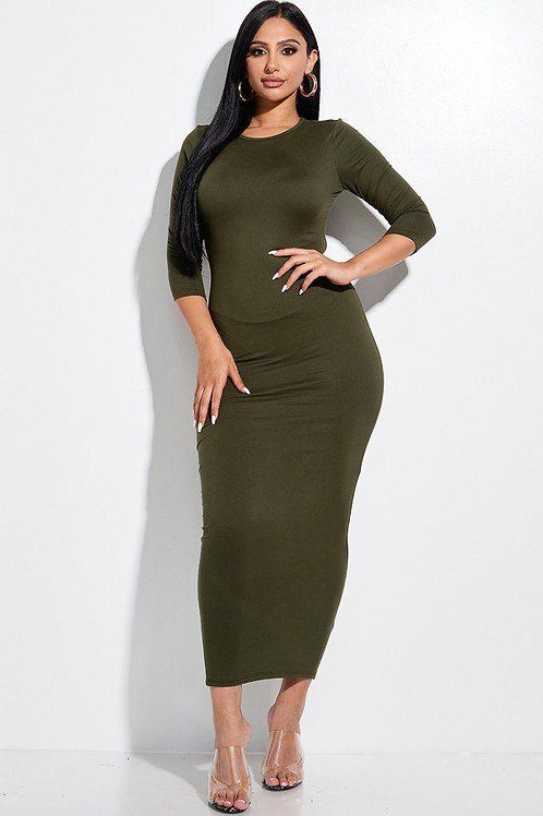 Solid 3/4 Sleeve Maxi Dress With Back Cut Out