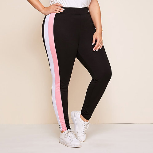 Plus Contrast Panel Side Skinny Pants