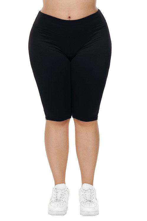 Women Black Knee Length Plus Size Sports Pants