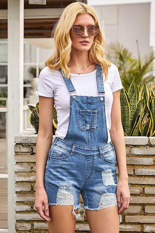 Fashion Raw Hem Ribbed Light Blue Denim Overall Shorts
