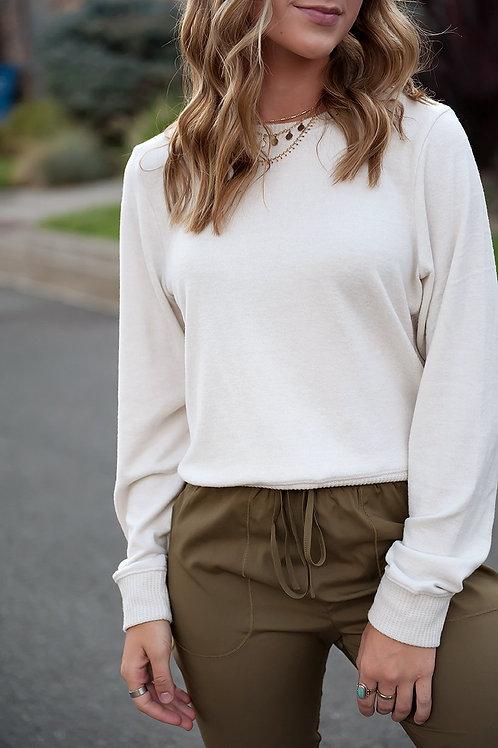 Georgia Super-soft Contrast Side Sweater in Cream