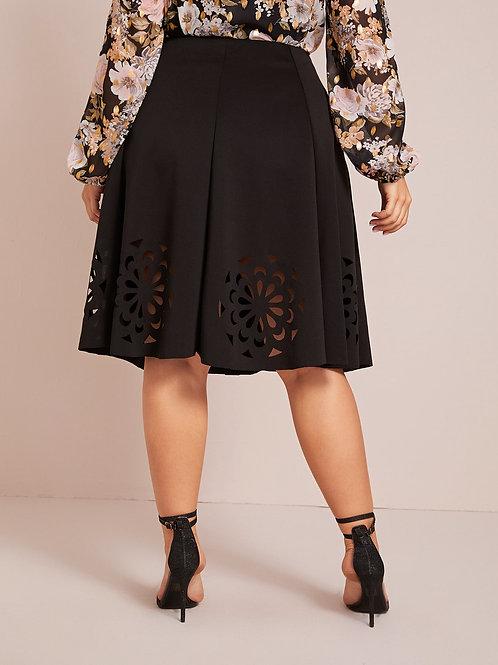 Plus Laser Cut Pleated Skirt