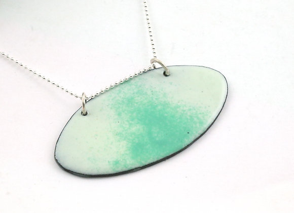 Small horizontal oval pendant white with pastel green