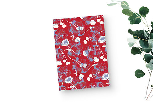 Lined Notebook - Scattered Blooms in Red