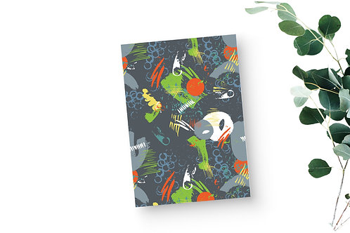 Lined Notebook - Abstract in Lime