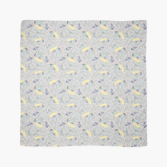 Tropical Blooms Scarf in Grey