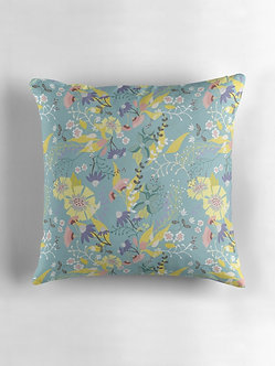 Tropical Flowers Cushion in Mint