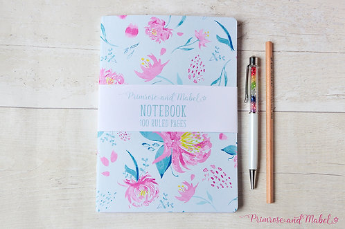 A5 Watercolour Floral Lined Page Notebook