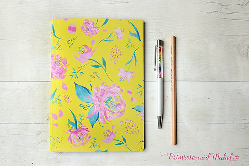 A5 Watercolour Floral Plain Page Notebook