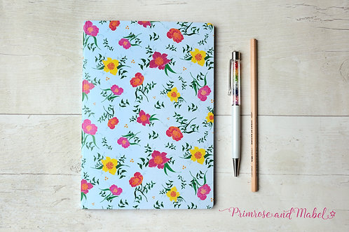 A5 Spring Floral Plain Page Notebook