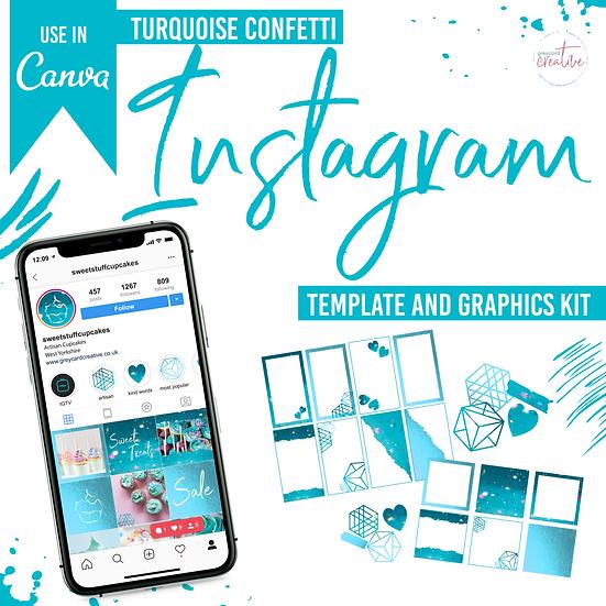 Instagram Graphics Kit - Turquoise Confetti
