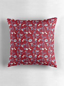 Scattered Blooms Cushion in Red