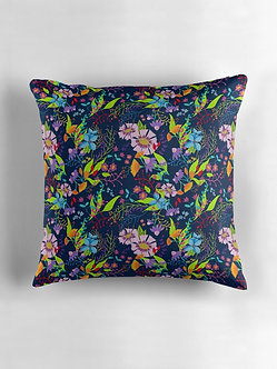 Tropical Flowers Cushion in Navy