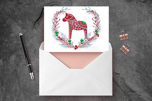 Scandinavian Dala Horse A6 Greetings Card