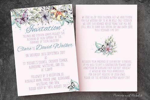 Watercolour Butterflies Wedding Stationery