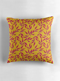 Tropical Leaves Cushion in Mustard