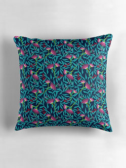 Tropical Blooms Cushion in Navy