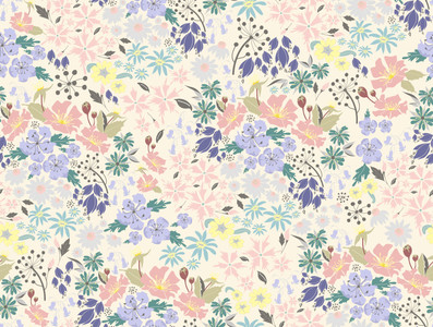 English Hedgerow Pastel Surface Pattern Design Floral Flowers