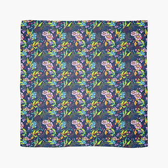 Tropical Flowers Scarf in Navy