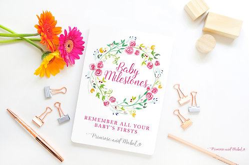 Baby Milestone Cards Gift Set - Watercolour Roses
