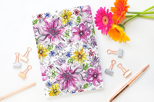 A5 Summer Ink Floral Lined Page Notebook