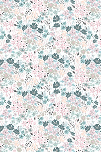 English Hedgerow Cool Palette Surface Pattern Design Floral Flowers Skirt, Floral Fabric