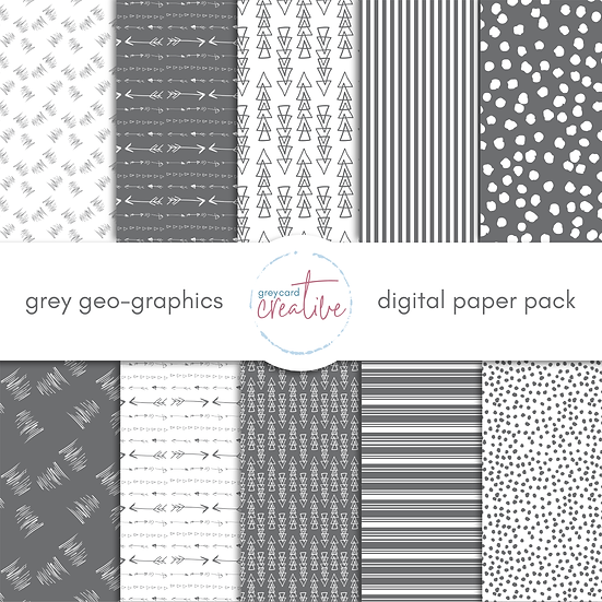 Grey Geo-graphic Digital Paper Pack