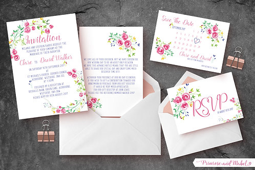 Watercolour Roses Wedding Stationery
