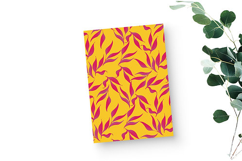 Lined Notebook - Tropical Leaves in Mustard