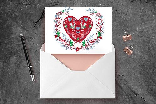 Scandinavian Heart A6 Greetings Card