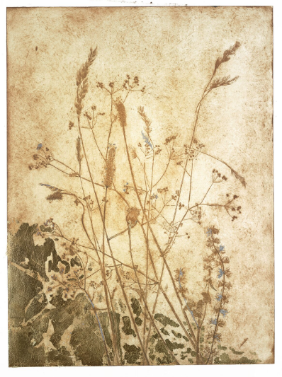 Rackham grasses with gold leaf