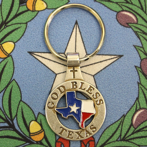 God Bless Texas Metal Key-Chain C- 11