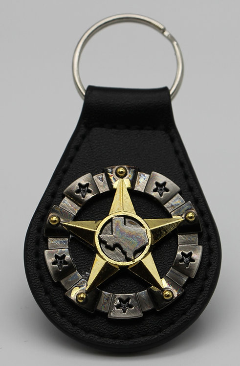 GOLD AND SILVER TEXAS STAR  KEYCHAIN
