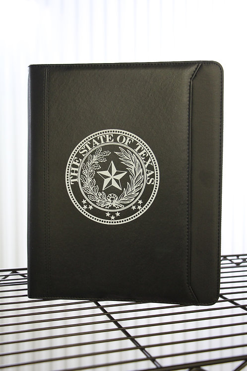 STATE OF TEXAS ZIPPERED PADFOLIO W/ FRONT POCKET