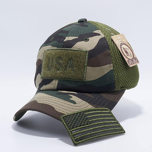 US Flag Velcro Patch Micro Mesh Hats [G.Camo]