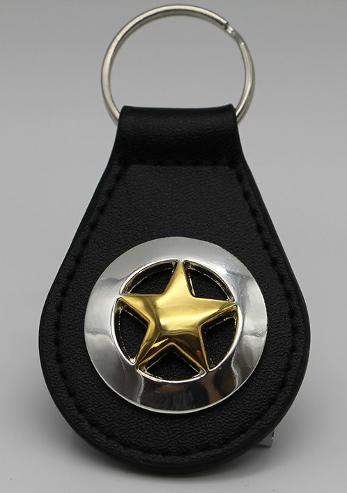 GOLD AND SILVER STAR  KEYCHAIN