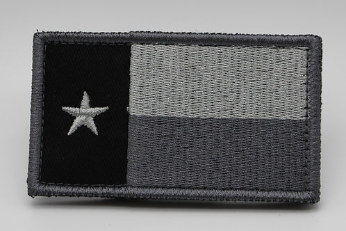 """BLK/SILVER TEXAS  FLAG Patch With Hook Back 3 1/2"""" X 2"""""""