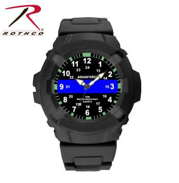 Aqua Force Thin Blue Line Police Officer Rugged Pu Rubber Watch (50m Water Resis