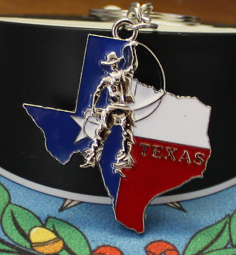 TEXAS KEYCHAIN WITH COWBOY