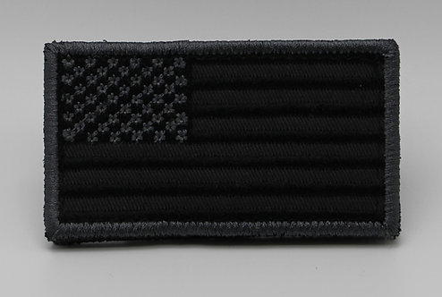"""USA BLK/SILVER FLAG Patch With Hook Back 3 1/2"""" X 2"""""""