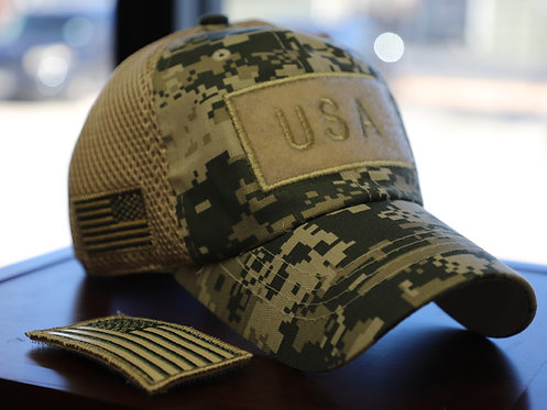 US Flag Velcro Patch Micro Mesh Hats [GREEN D.Camo]