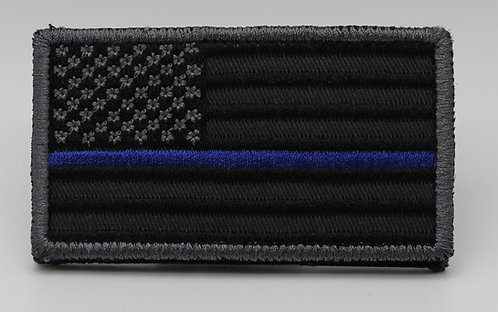 """SILVER/BLK THIN BLUE LINE FLAG Patch With Hook Back 3 1/2"""" X 2"""""""