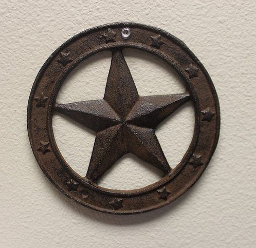 Cast Iron Star Plaque Painted Rustic brown