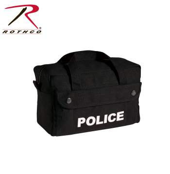"Rothco Canvas Black Police Logo Gear Bag 11"" X 7"" X 6"