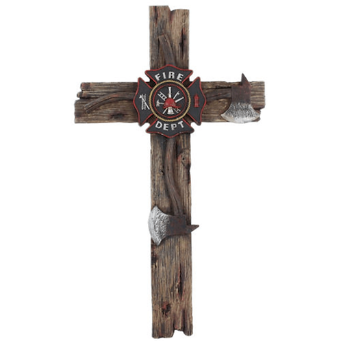 FIREMAN WOOD WALL CROSS